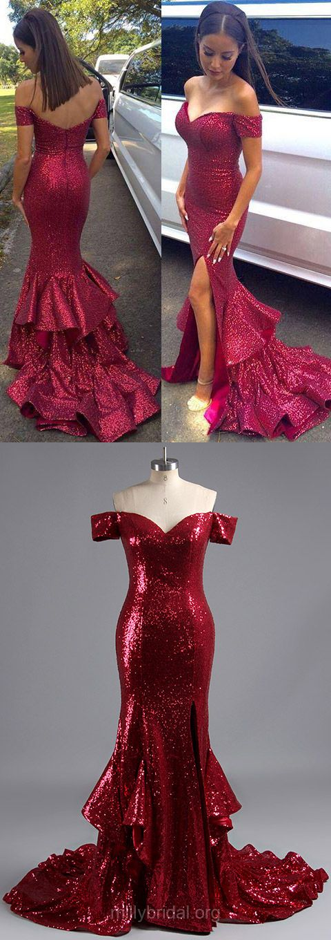 Fashion Trumpet/Mermaid Homecoming Dresses,Off-the-shoulder Evening Party Gowns,Sequined Formal Dresses, Split Front Long Prom Dresses, Popular Red Women Dress