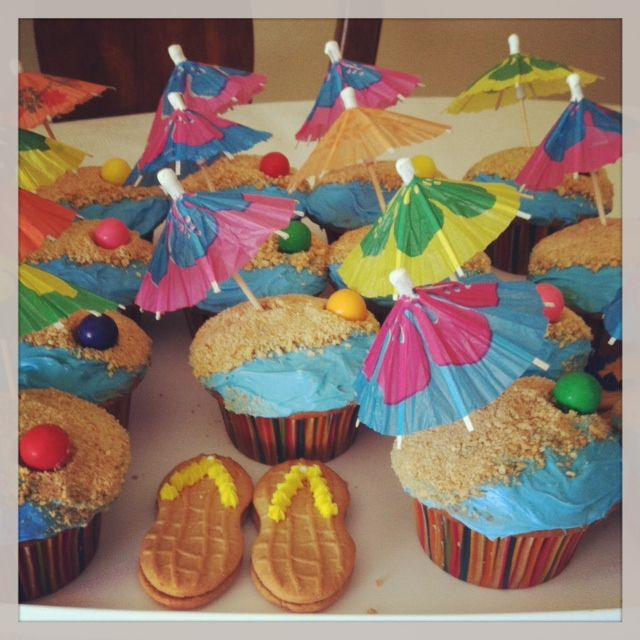 Beach theme cupcakes for Dylan's birthday Luau!