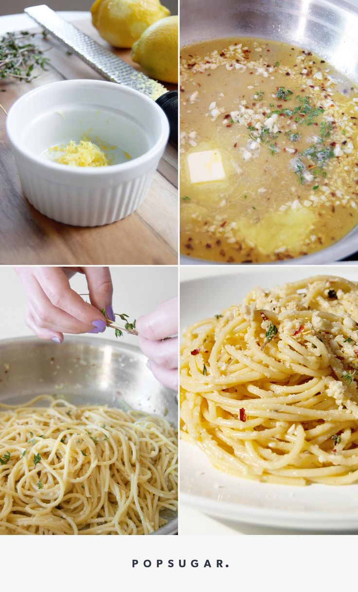 Grab a Forkful of Happiness by Making This Garlicky Spaghetti Immediately Jan 6, 2017  by ERIN CULLUM  Allow me, a serious pasta addict, to introduce you to my favorite pasta recipe. Olive oil, garlic, red pepper flakes, lemon, white wine, thyme, parmesan cheese join forces to create a boldly flavored sauce that comes together in mere minutes. If you've got all the ingredients on hand, u're on ur way to a fast and easy Italian dinner that will fill u with pure joy.