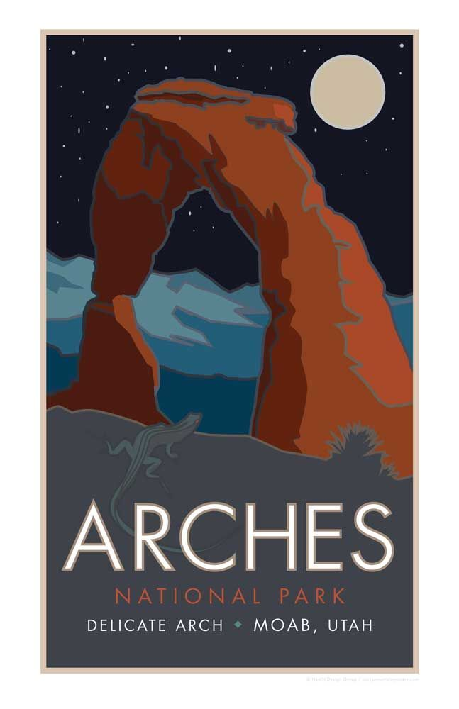 Delicate Arch Arches National Park Poster Utah 11x17 Rocky Mountain Posters Arches National Park Art National Park Posters Delicate Arch