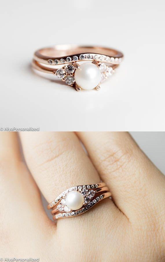 Art Deco Engagement Ring Set - Victorian Engagement Ring - Edwardian Engagement Ring - Vintage Engagement Ring - Bridal Sets Wedding Rings