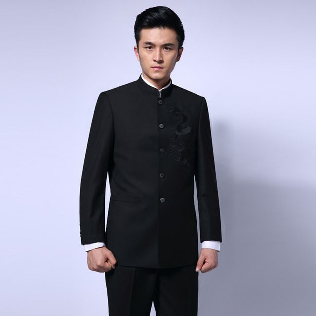 Business Jackets Pant Suits Men Black Dragon Embroidery Tang Suit Jacket Plus Size 4XL Mandarin Collar Wedding Coat Hanfu Suit US $101.74  CLICK LINK TO BUY THE PRODUCT  http://goo.gl/oYWEYs