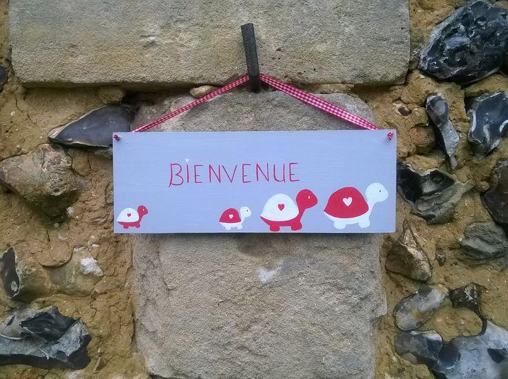 Plaque de porte BIENVENUE tortue passion : Décorations murales par ptitecrea