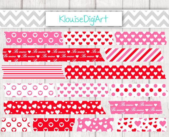 Valentine's Day Red and Pink Hearts Stripes by KlouiseDigiArt