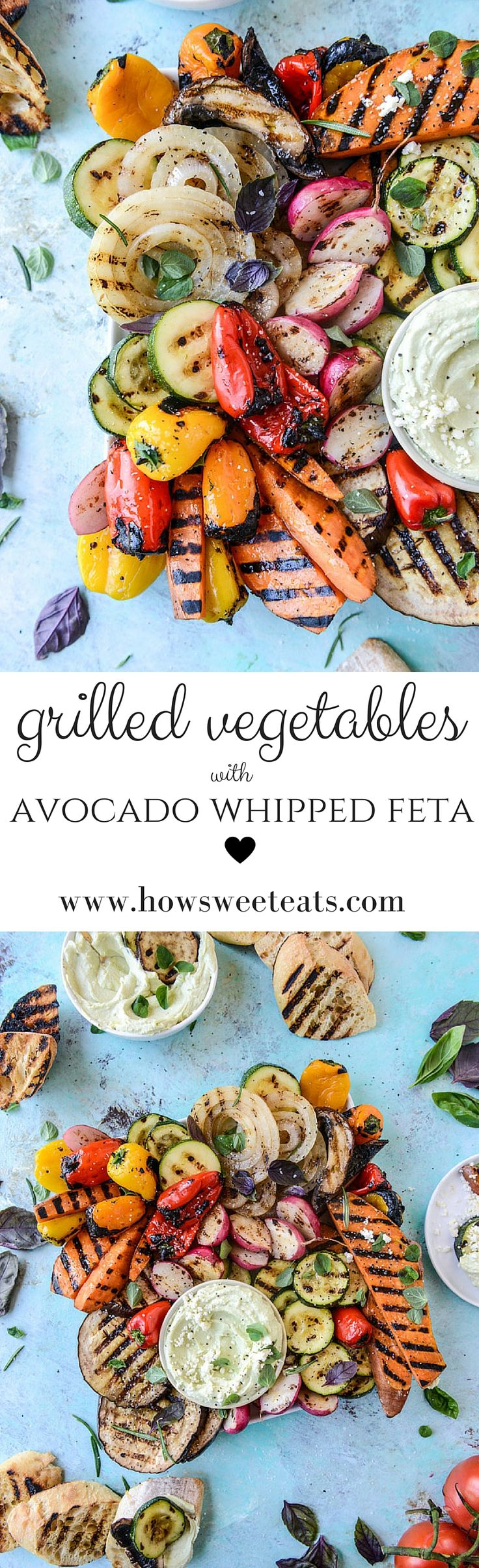 Marinated Grilled Veggies with Avocado Whipped Feta by @howsweeteats I howsweeteats.com