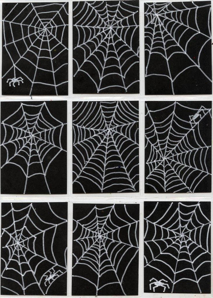 I never realized how much spiderwebs have in common with zentangles, which are basically repeated shapes. Try some fine tipped white poster markers on black scrapbook paper to make some like these. 1. Cut black paper to 2.5″ x 3.5″ standard ATC size. Draw about 8 straight lines radiating out from a center point on a … Read More
