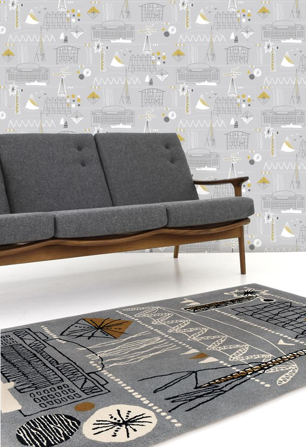 the lounge!Mid Century Modern, Festivals Wallpapers, Living Room, Festivals Rugs, Minis Modern, Buttons, Grey Couches, Midcentury, Sofas