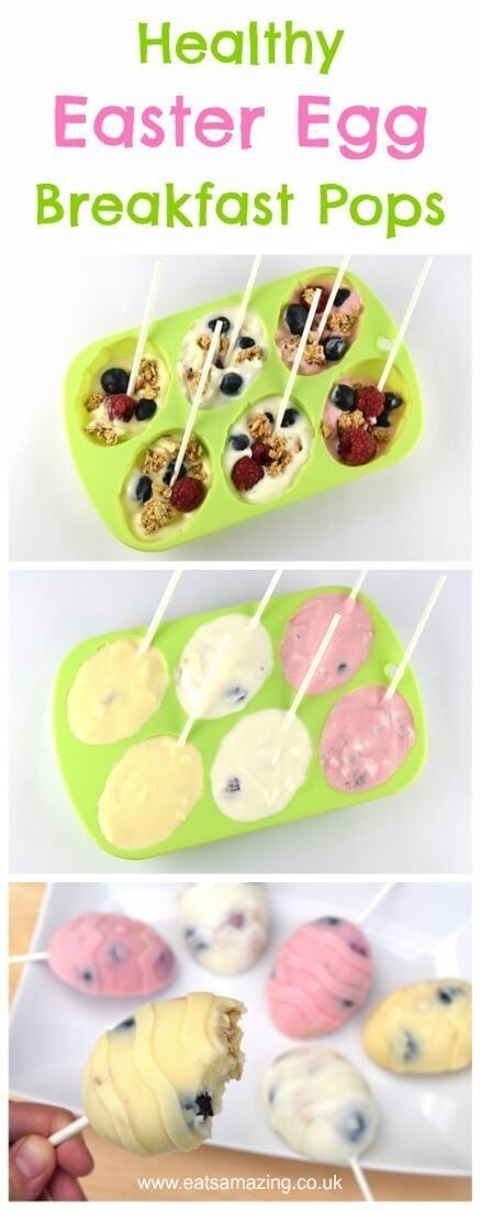 Fun Easter egg breakfast popsicles - a healthy Easter treat idea that kids will love! This super easy recipe is great for cooking with kids too.