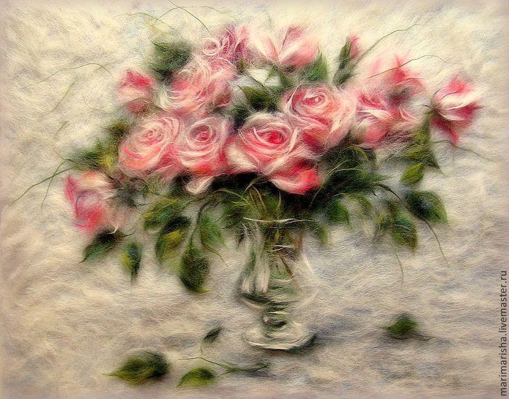 Купить Картина из шерсти Унесенные ветром - бледно-розовый, картина из шерсти, живопись шерстью, розы