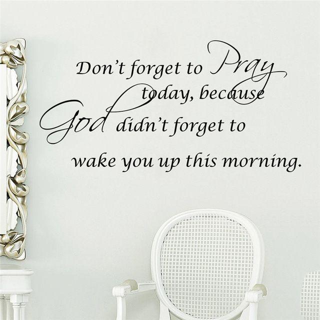 Vergeet niet om bidden, god niet vergeet om je wakker christelijke sticker decoratie muurstickers vinyl wallpaper