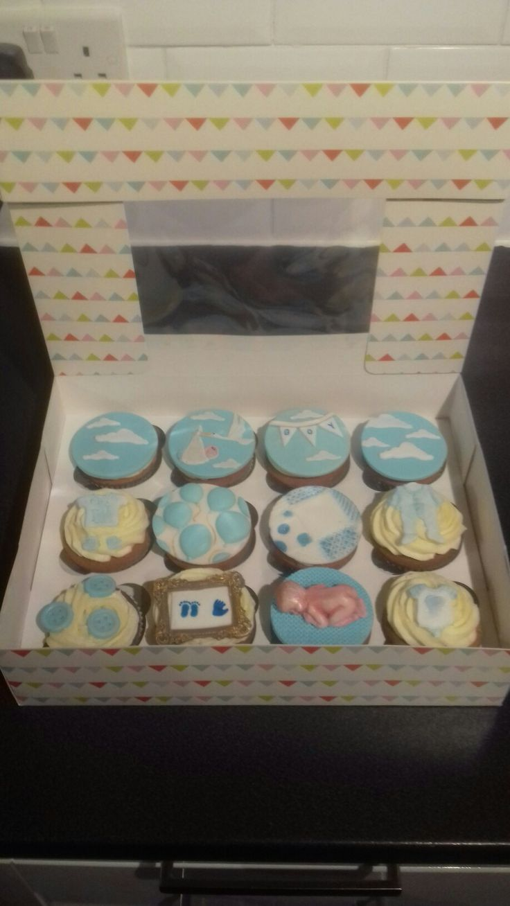 Baby boy shower cupcakes.