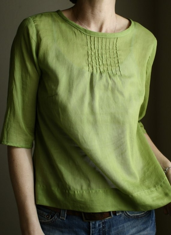 pintuck blouse - avocado
