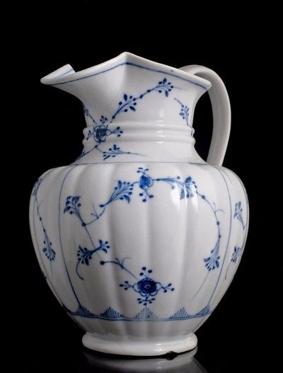 19th c. Royal Copenhagen porcelain Water Jug Pitcher Blue Lace design antique