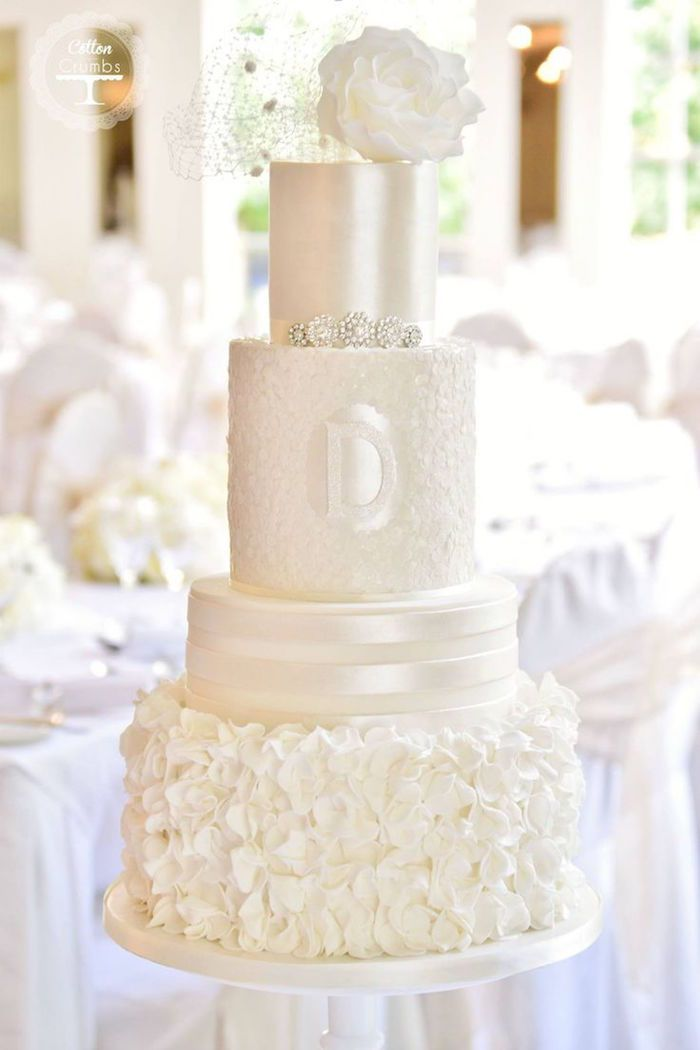 chic all white wedding cake; via Cotton and Crumbs