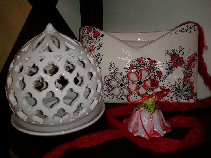 Portacandela traforato con piattino, busta portalettere con traforo fiore, campanella fiore