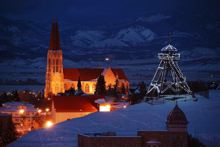 A beautiful view of Helena, MT all decked out for the Holidays.  The Old Firetower and St. Helena's Cathedral (RC).  This is looking north.