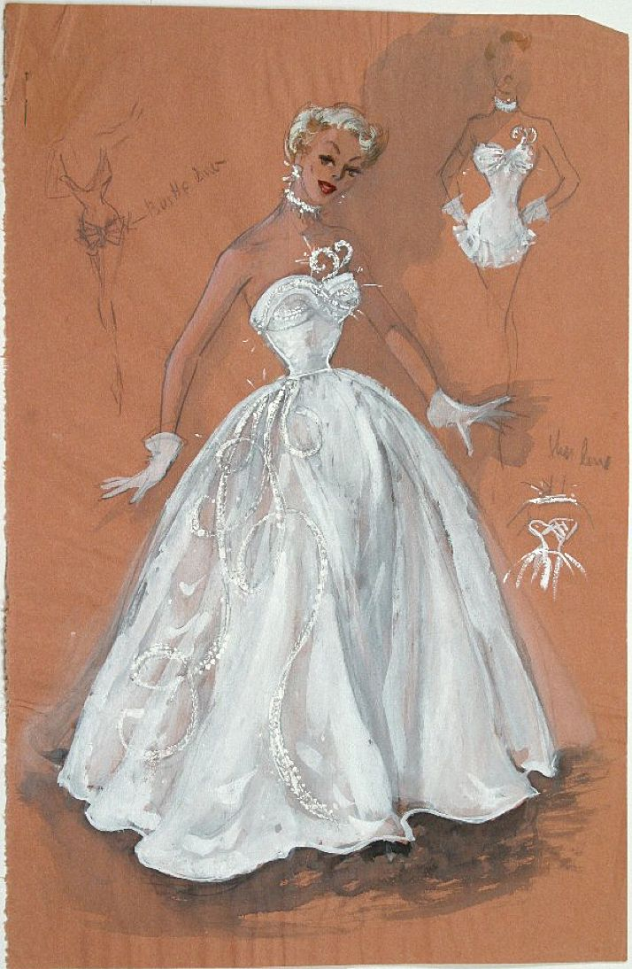 Edith Head sketch for an undetermined Paramount production, circa 1957