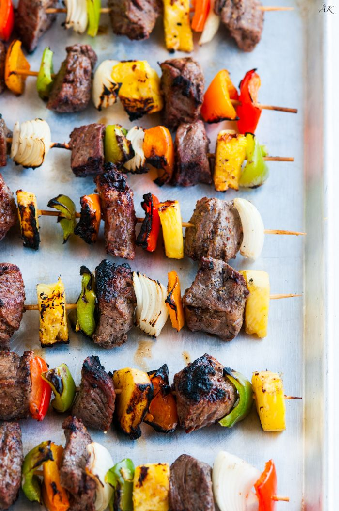 Grilled Pineapple Beef Kabobs recipe - Tangy and flavorful, serve these Grilled Pineapple Beef Kabobs with some sticky rice or even a la carte at any BBQ!
