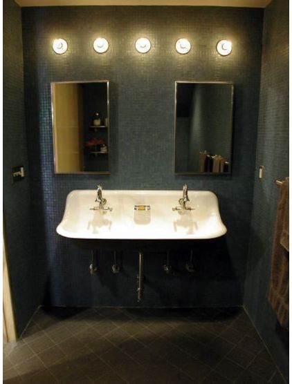 Small floating double sink image new flat pinterest for Small bathroom designs kohler