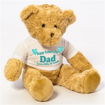 Personalised Large Teddy Bear for Father's Day! Teddy is soft, cuddly and well tailored wearing a t-shirt that can be personalised especially for your Dad. Available from wowwee.ie for €25.99
