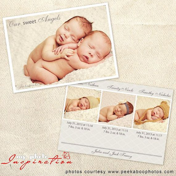 Baby Birth announcement template - Triplet announcement - BA065 on - birth announcement template