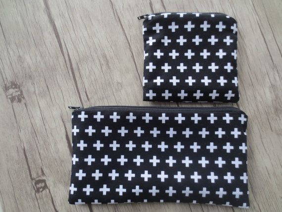 PENCIL CASE, COIN purse, cross plus black white, modern , geometric ,  Zipper Pouch, Credit Card Case, Make Up Bag by BlackInkAndFabrics #italiasmartteam #etsy