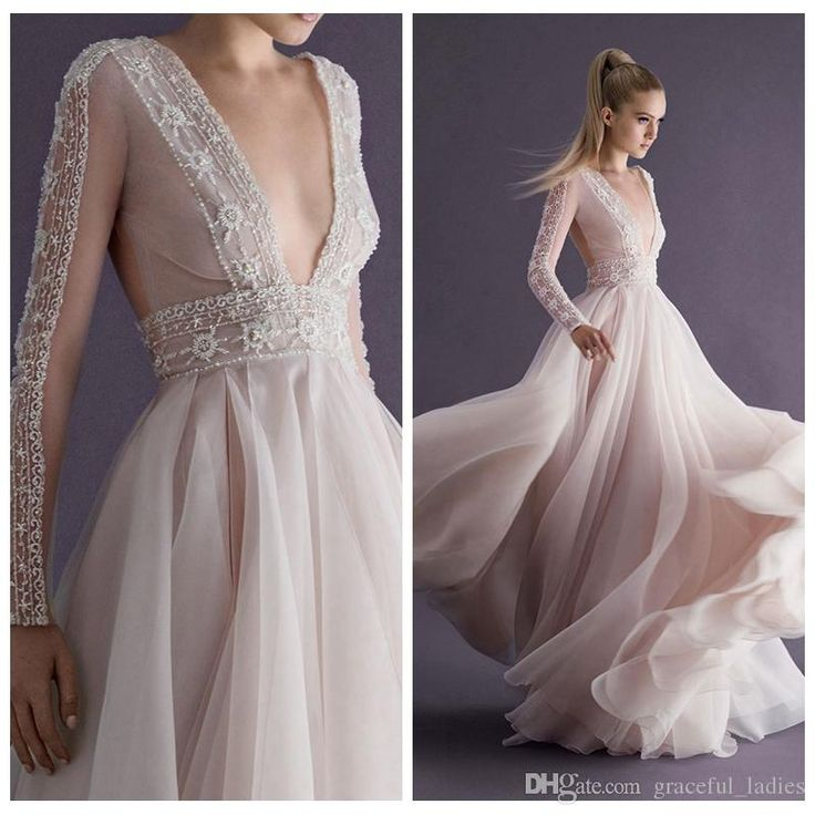 Wedding Dress Online Shopping Champagne Chiffon Beading Wedding Dresses Paolo Sebastian 2015 New Plunging V Neck Backless Handmade Long Sleeves See Through Bridal Gowns A Line Wedding Dresses Australia From Graceful_ladies, $295.29  Dhgate.Com