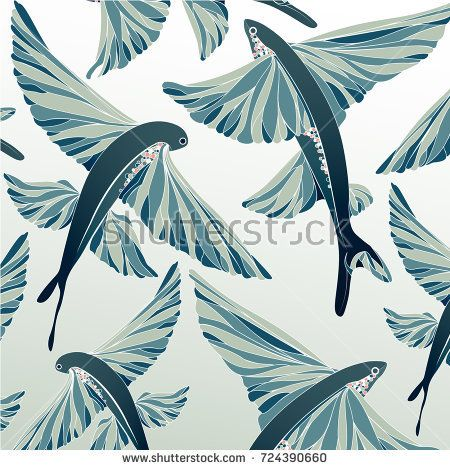 Pattern in the marine style (flying fish)