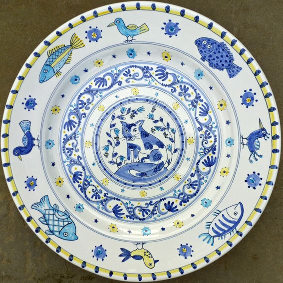 Cat plate with fish u0026 birds hand painted by Carlo Briscoe  sc 1 st  Pinterest & 55 best hand painted plates images on Pinterest   Painted plates ...