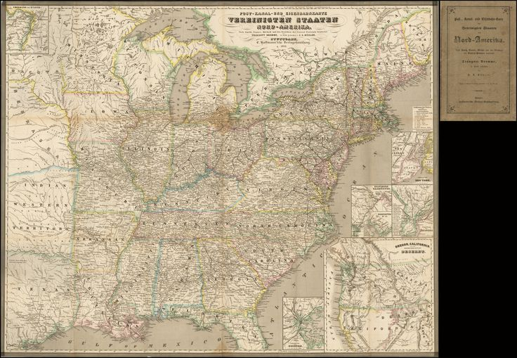 """One of Traugott Bromme's travel maps of the United States - 1850, with an inset map naming the """"Mormonen-Stat Deseret"""""""