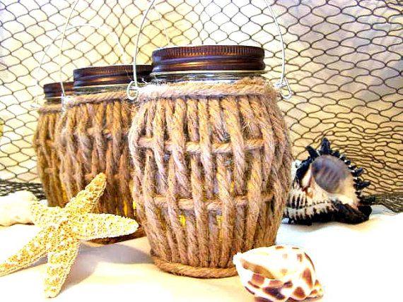 Plage trois ficelles nautique baril Mason Jar lanterne bougie suspendus Vase éclairage extérieur plage côtière vivant