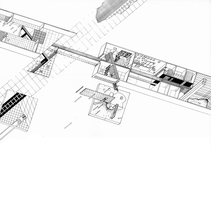 """ZAHA HADID    MUSEUM OF THE 19TH CENTURY LONDON, 1977-78    """"Exploded and superimposed are all the public facilities (golf course, lakes, health farm, night club"""""""