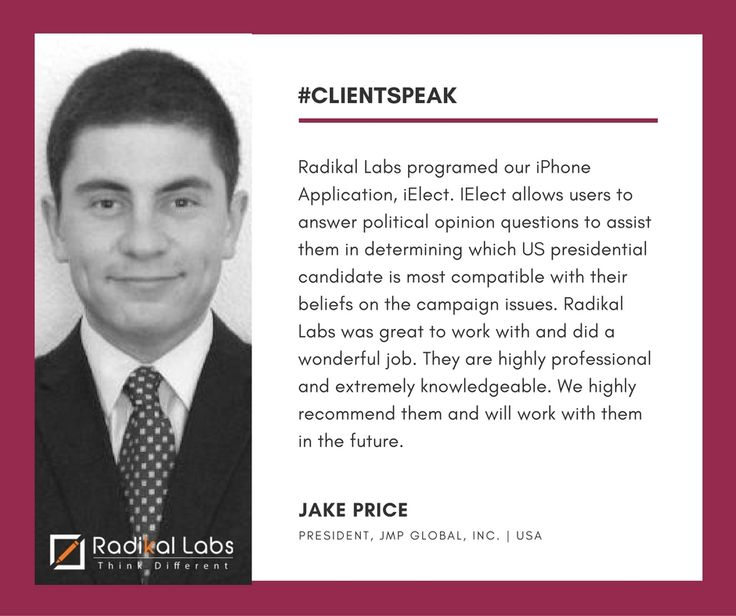 Words of encouragement from one of our esteemed clients, Jake Price | President, JMP Global, Inc.  Does your Business need Mobile App? Contact us at bit.ly/2aZvJ43 #ClientSpeak