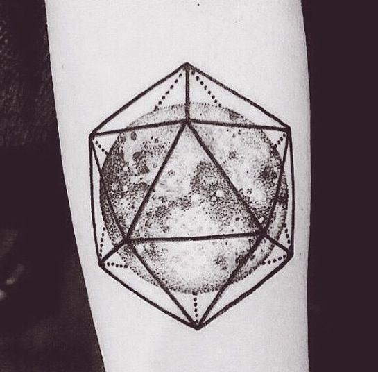 Another geometric moon - subtle realistic moon with bold geometric overlay.