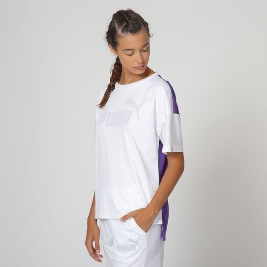 Camiseta Forrada en Blanco Y Morado Claro