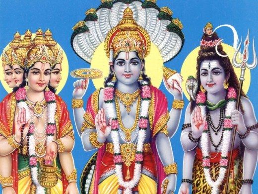 """The Trimurti (English: 'three forms'; Sanskrit: त्रिमूर्तिः trimūrti) is a concept in Hinduism """"in which the cosmic functions of creation, maintenance, and destruction are personified by the forms of Brahmā the creator, Vishnu the maintainer or preserver, and Śhiva the destroyer or transformer, These three deities have been called """"the Hindu triad""""or the """"Great Trinity"""" often addressed as """"Brahma-Vishnu  Maheshwara."""""""