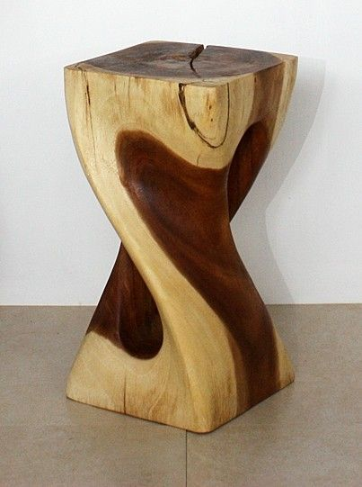 Single Twist Vine Stool crafted from monkey pod wood. Available in Light  Teak Oil and Clear Oil Finishes.
