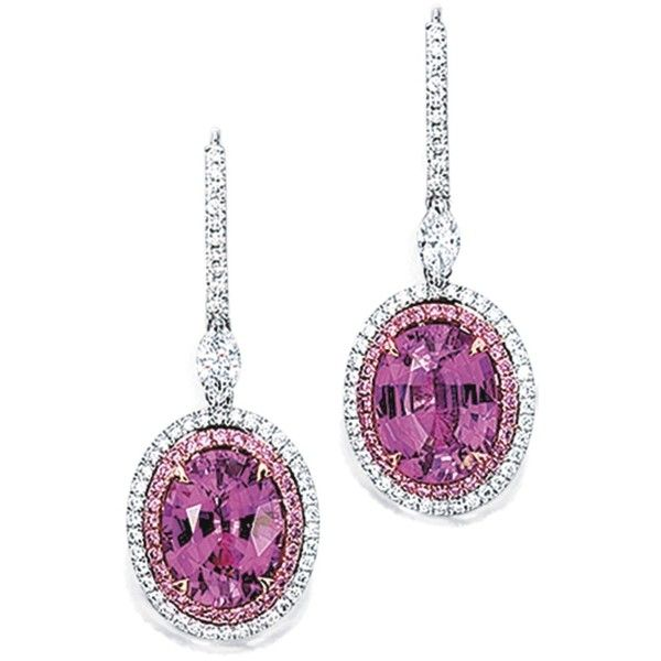 Pair of Pink Sapphire, Pink Diamond and Diamond Pendent Earrings   lot... ❤ liked on Polyvore featuring jewelry, earrings, royal jewellry, pink earrings, diamond jewelry, pink sapphire earrings, diamond earring jewelry and pink sapphire jewelry