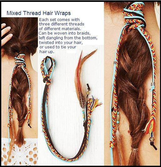 mixed thread hair wrap, #hair #Mixed #thread #wrap