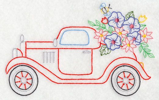 Roadster in Bloom (Vintage) design (K7451) from www.Emblibrary.com