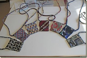 Necktie ditty bags, for glasses, phone, ID, cash. cute and clever recycling of old ties.