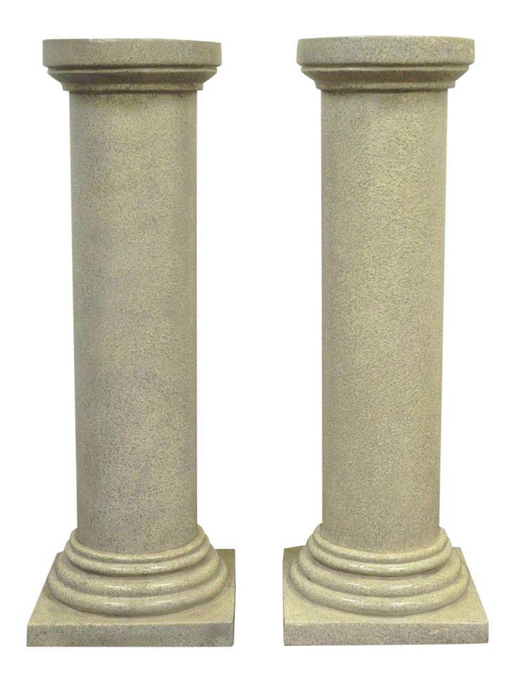 Faux Concrete Fiberglass Column Pedestals Sculpture Plant Stands - A Pair on Chairish.com