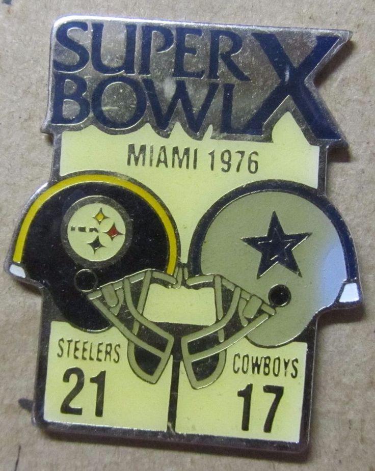 Rare Super Bowl X Steelers Vs. Cowboys 1976 pin Starline NFL Free Shipping #Starline