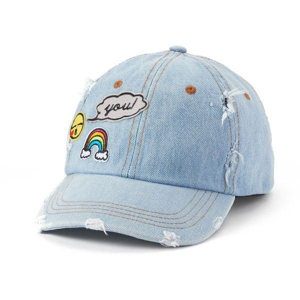 Women's SO® Denim Patches Hat ($12) ❤ liked on Polyvore featuring accessories, hats, blue, distressed hats, blue hat, patch hats, cap hats and brimmed hat