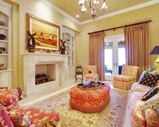 Traditional Living Room Pink Accents