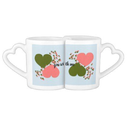 pair of cups with illustration and text - married gifts wedding anniversary marriage party diy cyo