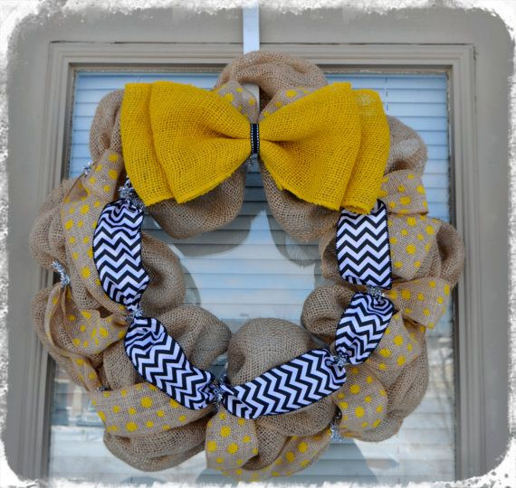 Wichita State University Burlap Wreath - Go Shockers!  WSU Black and Yellow