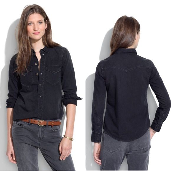 """Madewell Western Jean Shirt in Gravel Madewell Western Jean Shirt in Gravel has snap buttons and great fit.  Retail $88. Size XS. 16.5"""" armpit to armpit, 17"""" arm inseam, 21.5"""" length down front buttons. Distressed black denim. Madewell Tops Button Down Shirts"""