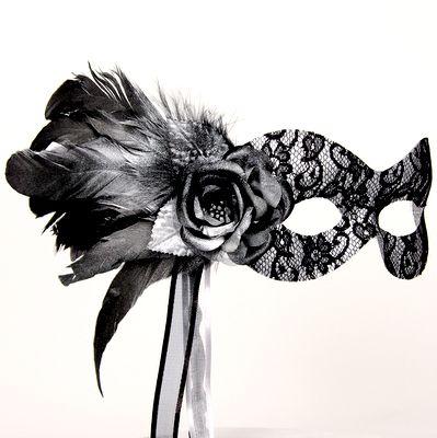 Black Masquerade Masks for Women   Black and Silver Stick ...