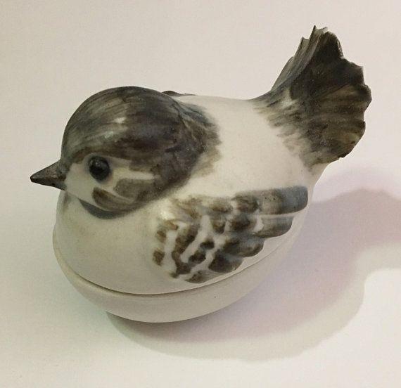Porcelain Bird Trinket Box with Interior Flowers